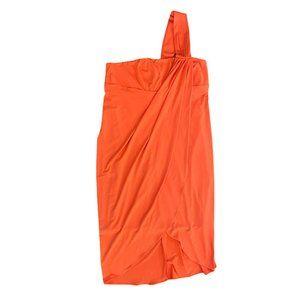 Boston Proper One Shoulder Orange/Coral Dress